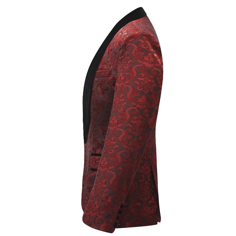 Белый, красный ободок, сценическая одежда для мужчин, мужской костюм, мужские свадебные костюмы, костюм, смокинг жениха, официальный (пиджак ... - 2