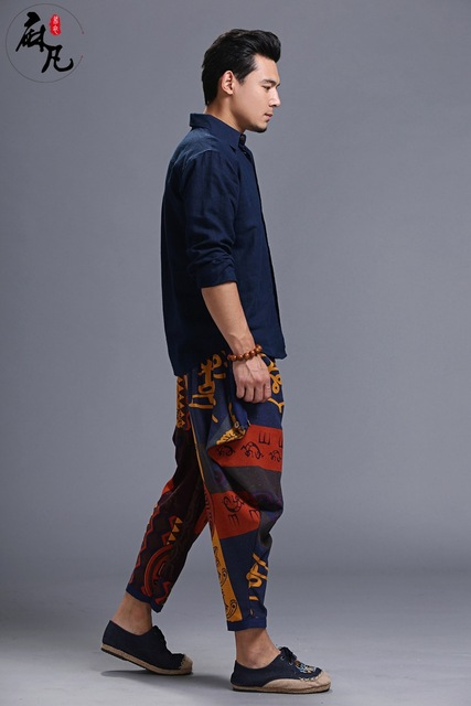 Original folk style Men autumn cotton linen wide leg pants loose casual pants harem pants haren harem trousers