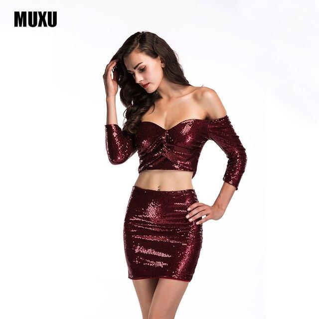 MUXU autumn two piece set sexy red sequin dress women casual glitter dress  womens clothing vestidos 64941f627f97