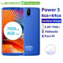 "LEAGOO 電源 5 6 ギガバイト 64 ギガバイトの携帯電話アンドロイド 8.1 5.99 ""MT6763V オクタコア FHD + 7000mAh 13MP カメラワイヤレス充電スマートフォン"