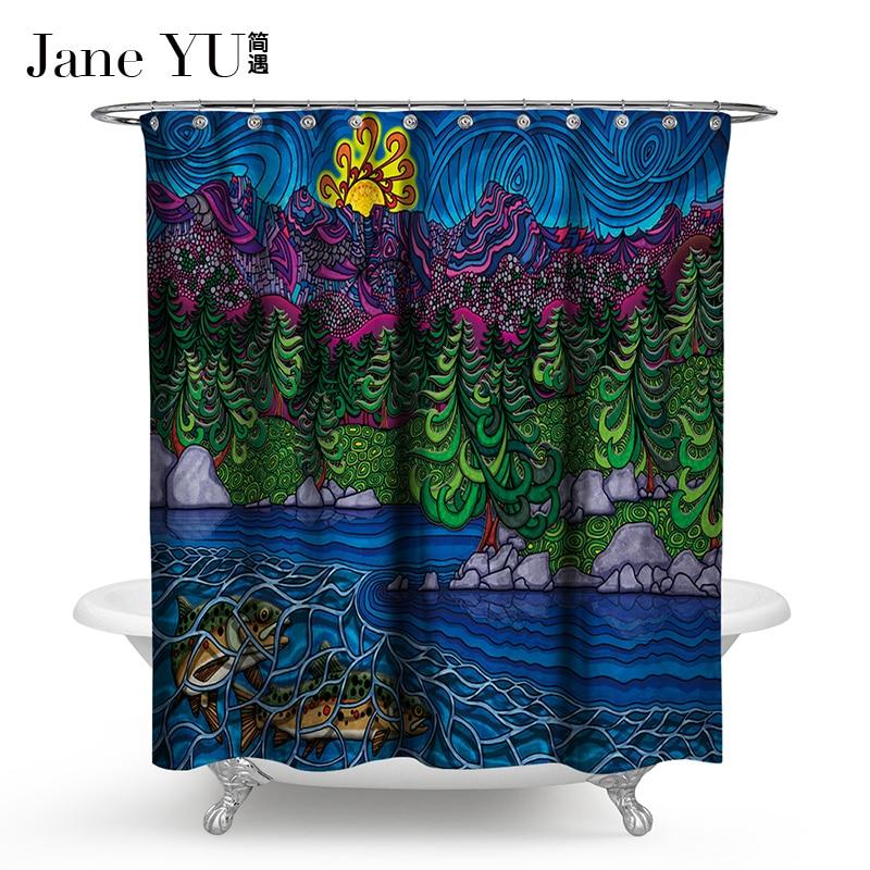 JaneYU 15 Colors Bathroom Decoration Shower Curtains Flamenco Curtain  3D fish printed bath window curtain