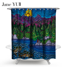 JaneYU 15 Colors Bathroom Decoration Shower Curtains Flamenco Curtain  3D fish printed bath window curtain