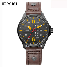 EYKI Sport Casual Montre-Bracelet Étanche Pour Hommes Lumineux Ceinture En Cuir Mâle Reloj Hombre Jour Et Affichage de la Date Armée Quartz Montres