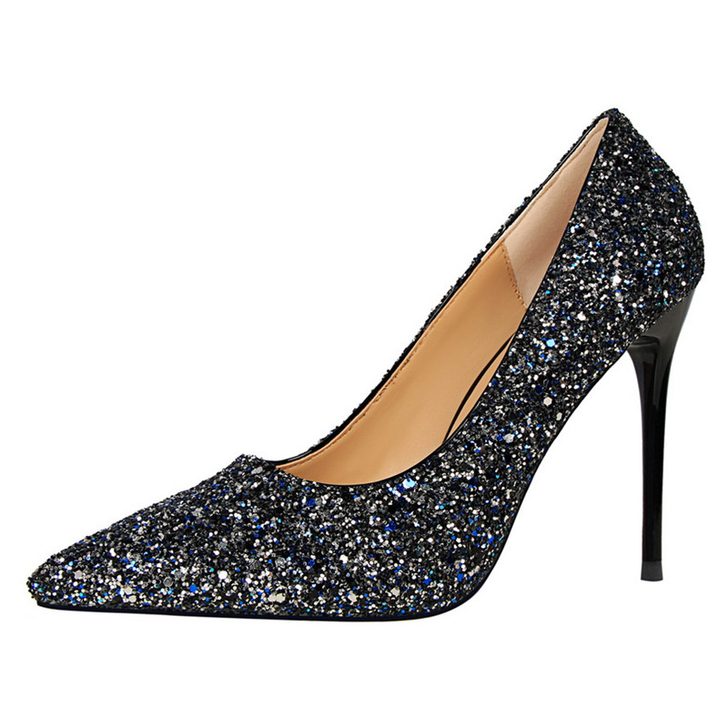 0fcbc485e8f New 2017 Spring Autumn Women Pumps Sexy Black Gold Silver High Heels Shoes  Fashion Luxury Rhinestone Wedding Party Shoes