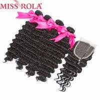 Bayan Rola Saç Ön-Renkli Moğol Derin Dalga Demetleri Ile Kapatma Doğal Siyah Olmayan Remy Insan Saç Uzatma