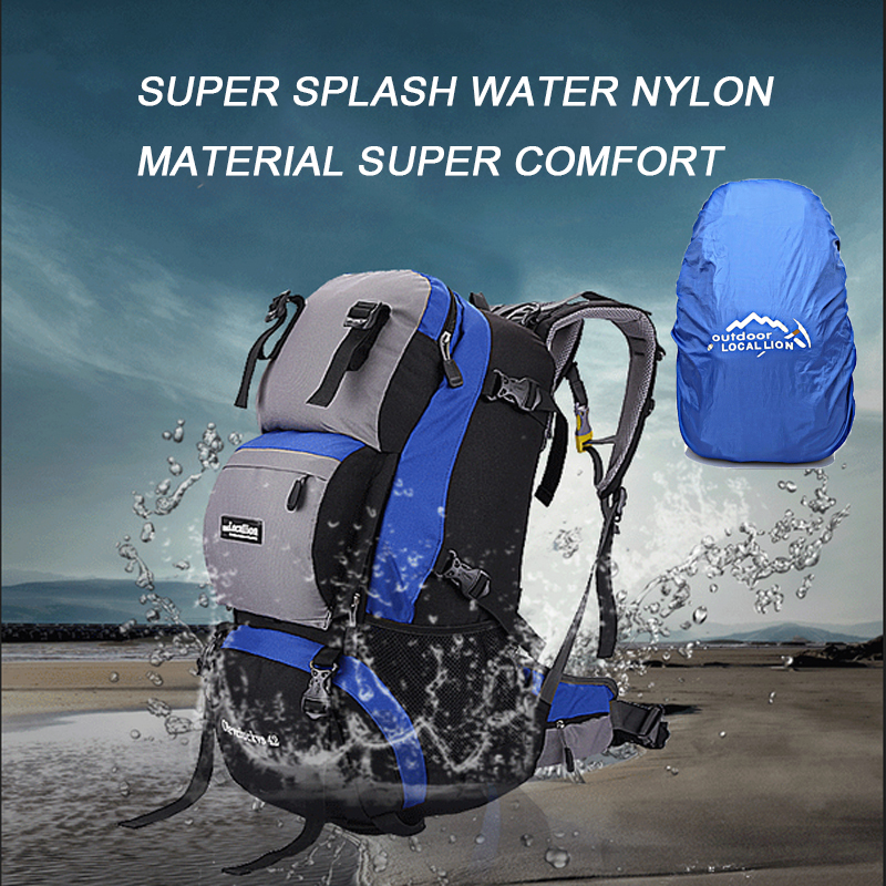 42L Professional Mountaineering Bags Waterproof Travel Backpack Hiking Climbing Backpack Outdoor Sport Backpacks with Rain cover