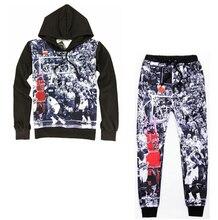 Hip hop 3d sweatshirt & casual hosen 3d trainingsanzüge bedruckt Jordan dunk anzug set Männer/Frauen Straße kleidung anzug 2 stücke