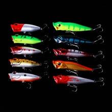 10pcs/lot top water Fishing Lure Set 2 Models Mixed Minnow popper Crank Bait Tackle Bass Baits