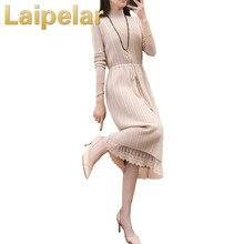 Women Elegant Autumn Winter Dress Turtleneck Long Sleeve Sweater Loose Knitted Slim Warm Basic Lace