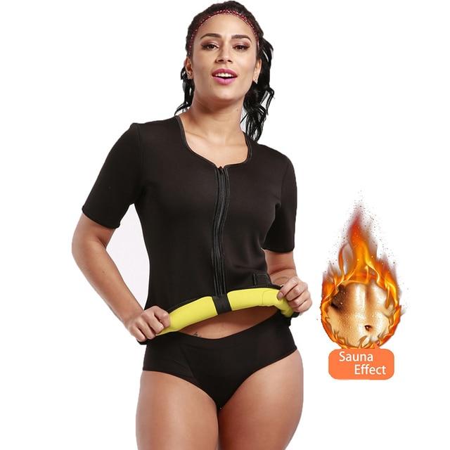 c44c898c29 Body Hot Shaper 2018 Waist Trainer Women Zipper Neoprene Sweat Vest Phone  Pocket Weight Loss Short Sleeve Tops Tummy Control