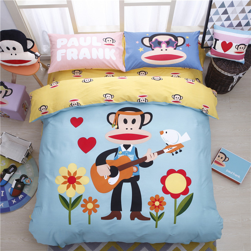2018 kids bedding set quen size fashion cartoon anime monkey bed linen cotton pink bed sheets duvet cover princess drap de lit