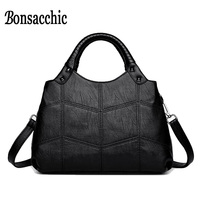 Bonsacchic Artificial Leather Bag Women Handbags Knitting Handle Small Women S Bags Rivet Shoulder Bags For