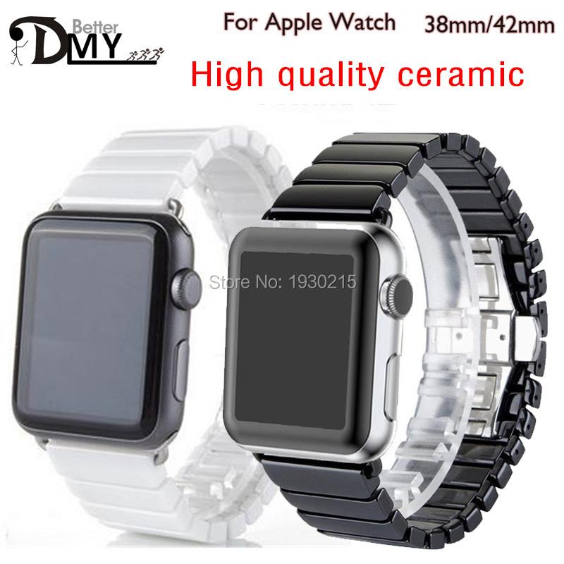 Prix pour 2017 céramique bracelet noir blanc brillant céramique montre de courroie de bande pour apple watch iwatch 38/42mm lien bracelet butterfly boucle