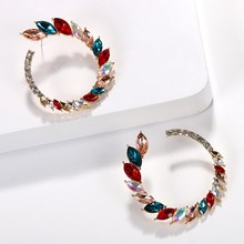 2019 Summer Women Colorful Crystal Dangle Earrings Round Circle Pendant Drop Earrings Bridal Statement Fashion Jewelry red gray round colorful embroidery drop earrings