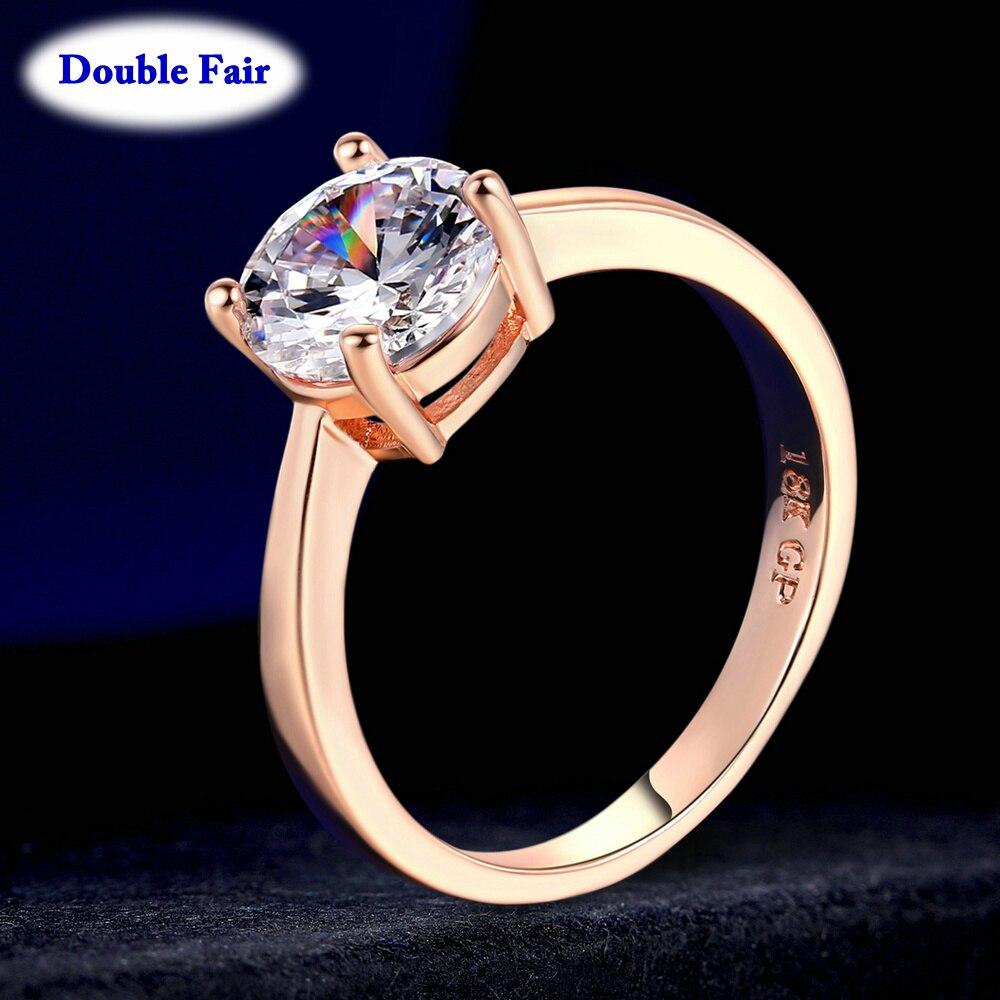 Женское кольцо из розового/белого золота, с фианитом AAA +