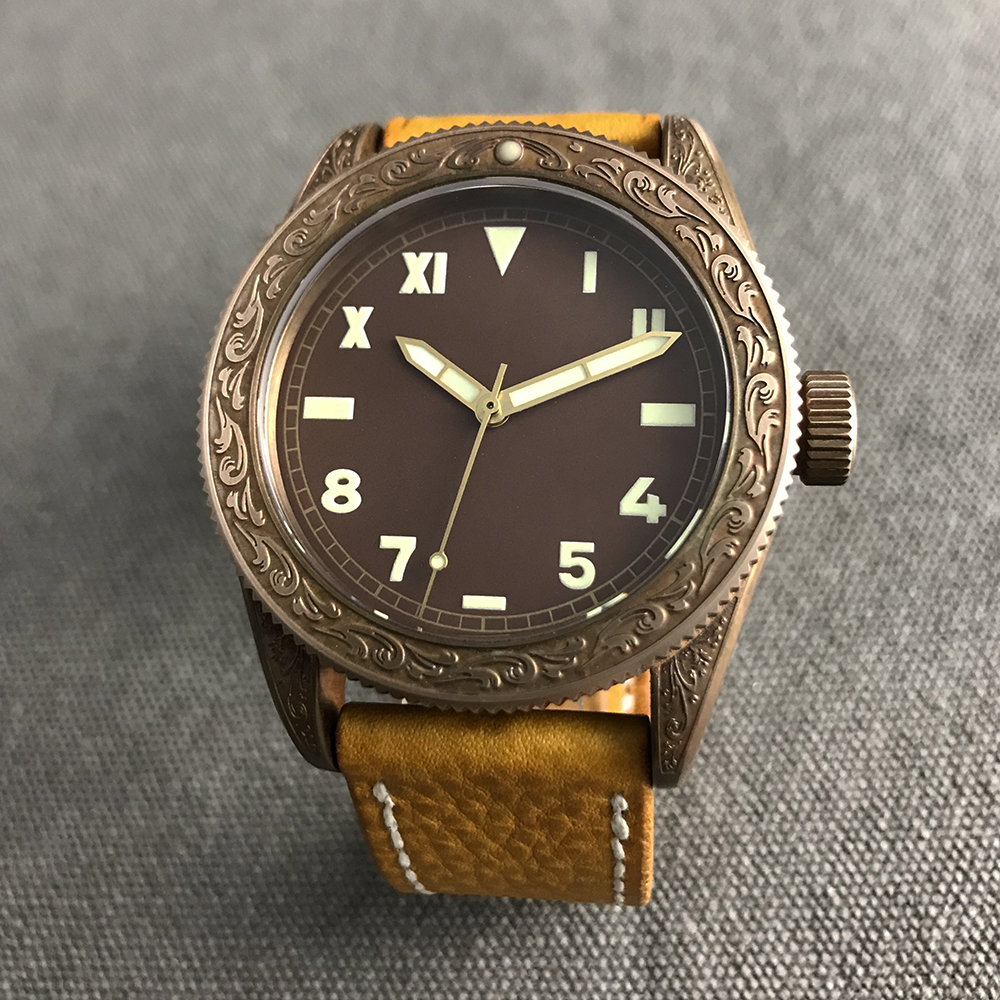 San Martin Men Vintage Diving Watches Bronze carved Swiss ETA2824Automatic Watch 500 Water Resistant Relojes Hombre 2018 for men
