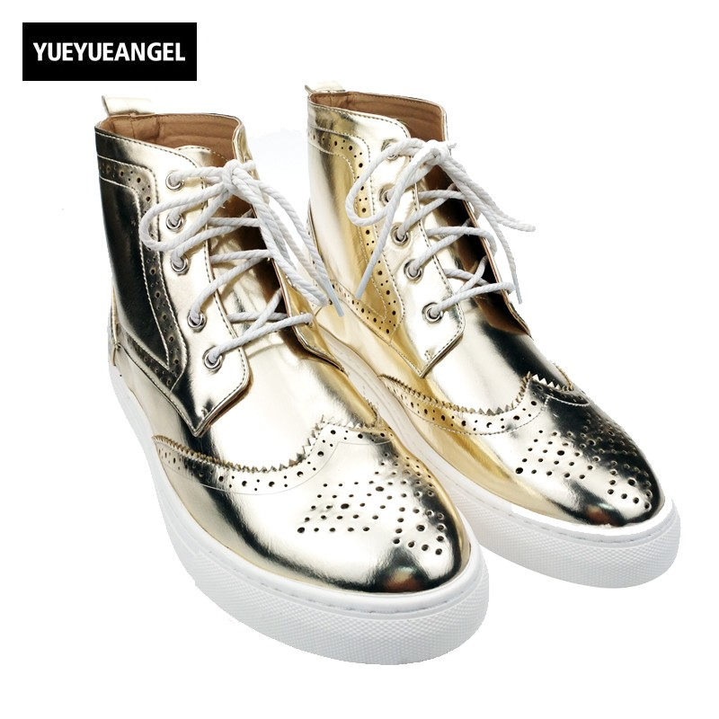 italy Design Mens Brogue Wing Tip Silver Gold High Top Casual Shoes For Man Lace Up Pu Leather Round Toe Driving Shoes