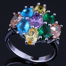 Glamorous Oval Multigem Multicolor Yellow Cubic Zirconia 925 Sterling Silver Ring For Women V0421