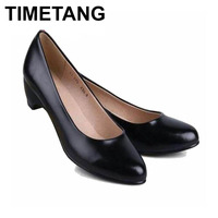 TIMETANG Women's Leather Med Heels New High Quality Shoes Classic Black Pumps Shoes for Office Ladies Shoes