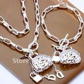 S006 Wholesale jewelry set.Sterling silver jewelry set.jewelry.Silver Necklace&bracelet set.Free shipping.