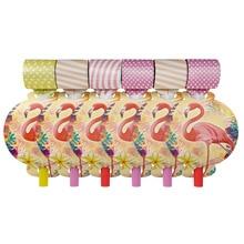 12PCS 13*8cm Flamingo theme paper blow out for kids birthday party decoration blowout pattern Party supplies