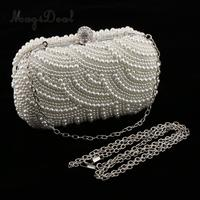 MagiDeal Woman Evening Handbag Artificial Pearls Clutch Purse Shoulder Chain Bag Gift