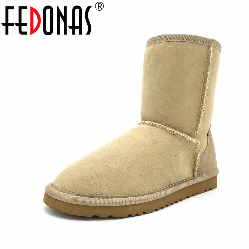 FEDONAS Women Boots Classic 100% Sheepskin Mid-calf Snow Boots Winter Sheep Fur Boots Flats Warm Genuine Leather for Shoes Women taoffen women genuine leather flats snow boots women metal buckle mid calf boots warm fur shoes for women footwears size 34 39