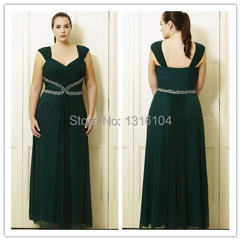 2017 Dark Green Long Floor Length Cap Sleeves Chiffon Full Figure Plus Size Bridesmaid Dress