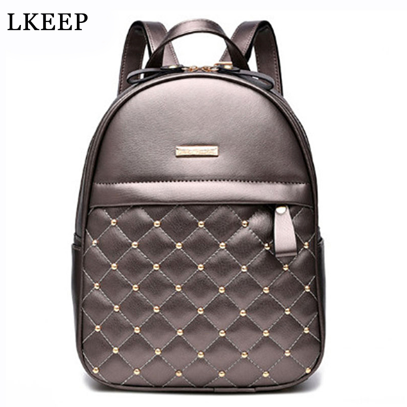 High Quality Women Backpacks 2017 Hot Sale Fashion Causal School Bags Beaded Shoulder Bag PU Leather