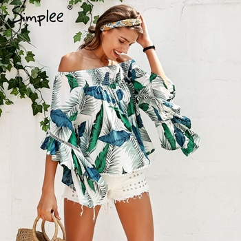 Off shoulder tropical print sexy blouse women Flare sleeve ruffle casual blouse shirt