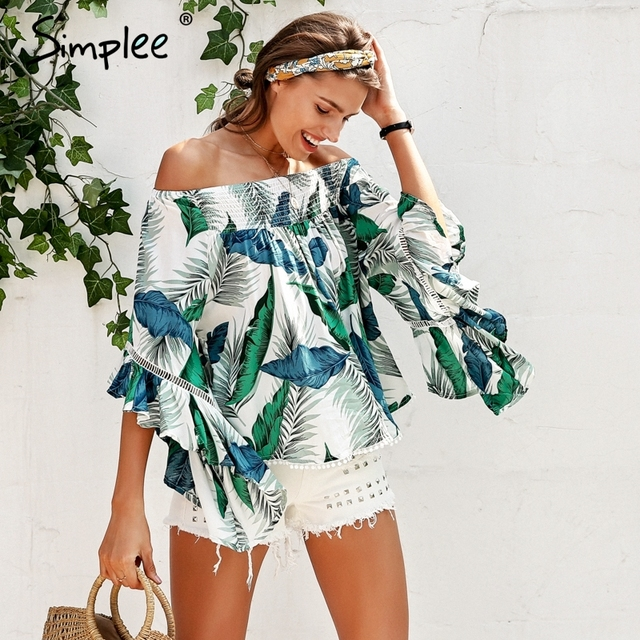 Simplee Off shoulder tropical print sexy blouse women Flare sleeve ruffle casual blouse shirt 2018 Smock top summer beach tunic