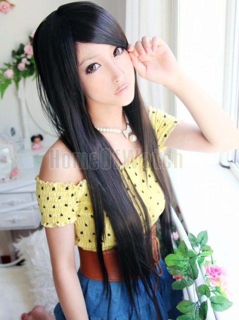 Black Long Straight Wigs  hair nets   Free shipping(NWG0LO60514-BC2)
