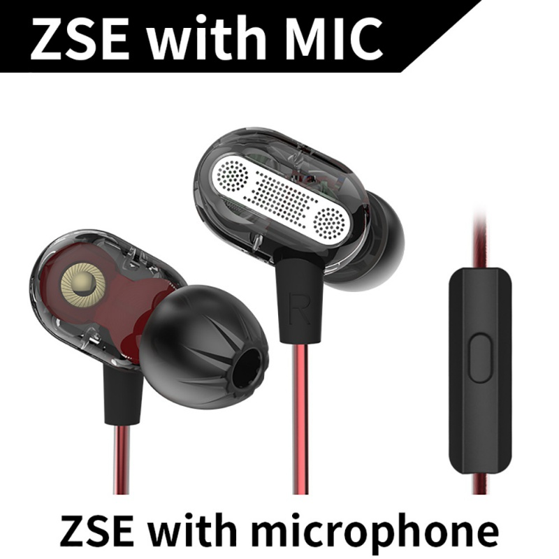 KZ ZSE Dynamic Dual Driver Earphone In Ear Headset Audio Monitors Headphone Noise Isolating HiFi Music Sports Earbuds With Mic K kz zs5 double hybrid daynamic and balanced armature sport earphone four driver in ear headset noise isolating hifi music earbuds