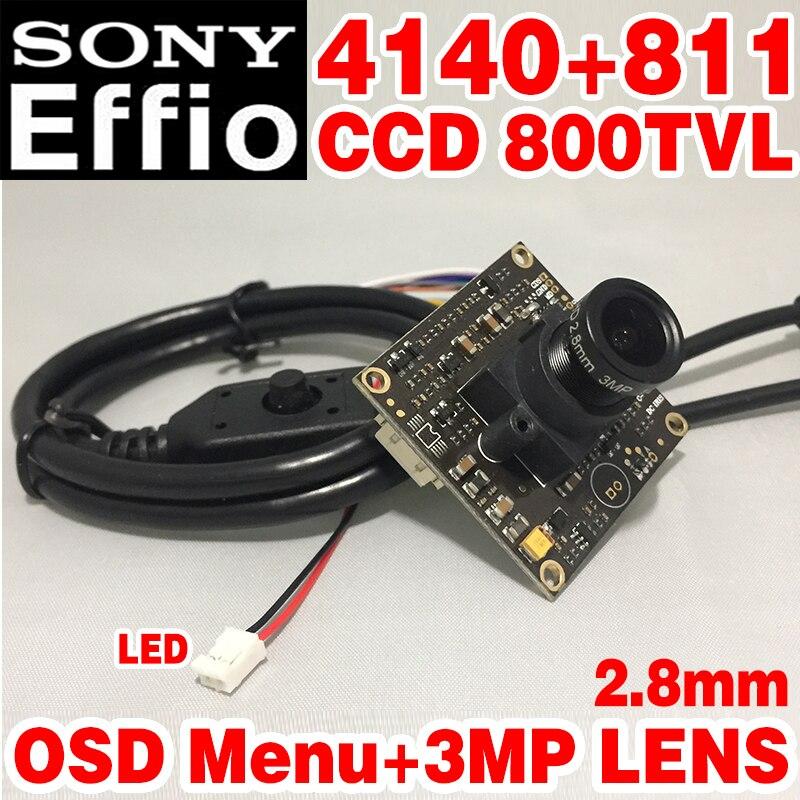 """Grande Angular Novo Estilo de 1/3 """"Sony CCD Effio-3.0mp e câmera 800tvl hd Simples módulo de chip 2.8mm menu osd lente grande grande Angular"""