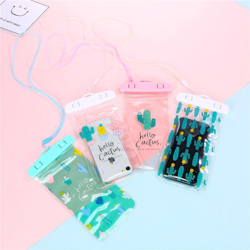 Unicorn PVC Coin Purses Cactus Plant Small Neck Bag Women Summer Waterproof Phone Bags Case Children Cartoon Seaside Purse