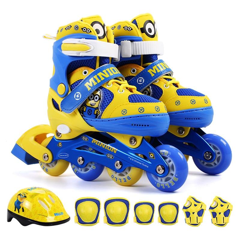 Minion Enfants skate rouleau chaussures de patinage réglable à rouleaux chaussures de patinage lavable PVC dur roues une roue avant sport jouet