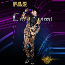Hot bar nightclub male singer male DJ male host suit yellow suit costumes stage