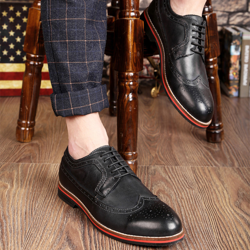 2eec5c9b33963a LUOBANIU Brand 2017 Plus Size 38~47 Men Brogue Shoes Split Leather Shoes  Fashion Wedding Shoes Men Lace Up Oxfords Dress Shoes-in Men s Casual Shoes  from ...