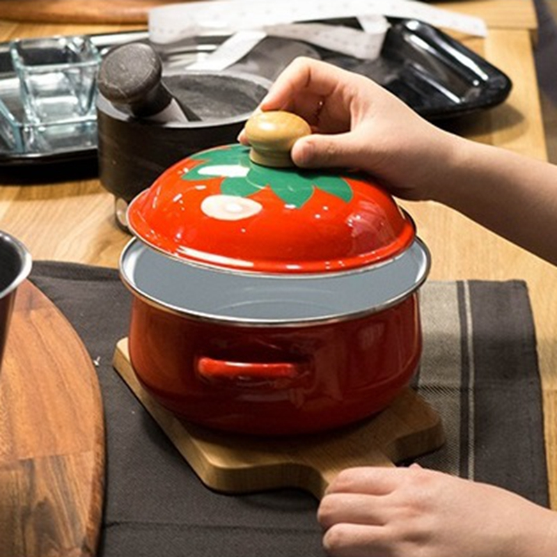 18cm 1 5L Japanese Tomato Enamel Soup Pot Stockpot Mini Saucepan Milk Egg Noodles Cooking Pan For Induction Cooker Gas Cooker in Soup Stock Pots from Home Garden