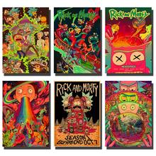 Cartoon Anime Poster Rick and Moti Poster font b Retro b font Poster Kraft Paper Poster