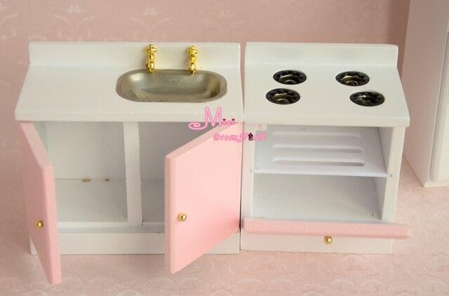 Muñecas juguetes para niñas 1:12 Wood Dollhouse miniatura rosa claro ...