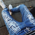 2016 новый личность пара, чтобы закрыть отверстие в пятиконечная звезда заклепки джинсы сшиты стретч эластичные брюки ноги моды