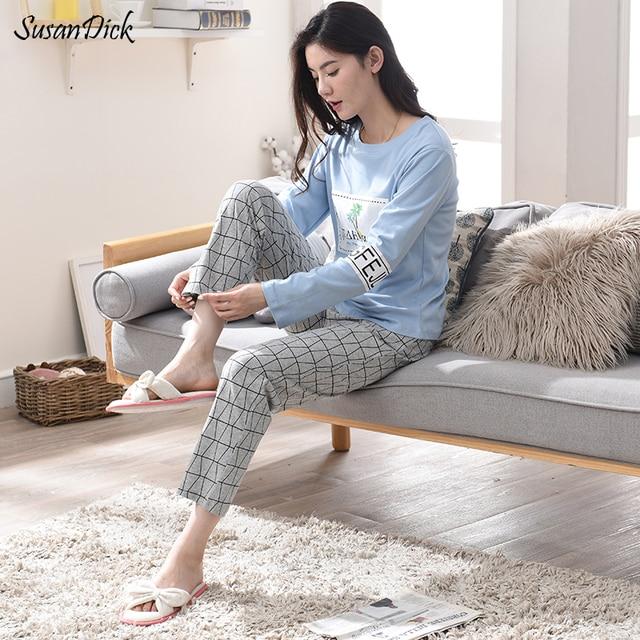 d57081a052 SusanDick 100% Cotton Autumn Pajamas Long Sleeve Women Sleepwear Korean Cute  Ladies Sleep T-shirt   Pants Two Piece Set Homewear