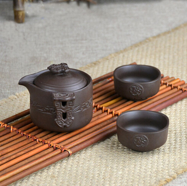 Purple grit teapot sets travel drinkware easy carry tea cups carved  teapot handmade pots tea set porcelana tea cup bandeja