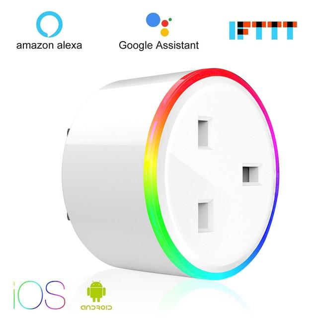Enchufe inteligente WiFi toma de Control de energía 10A Control de energía interruptor temporizador EU/US/UK salida Control de voz alexa Google IFTTT