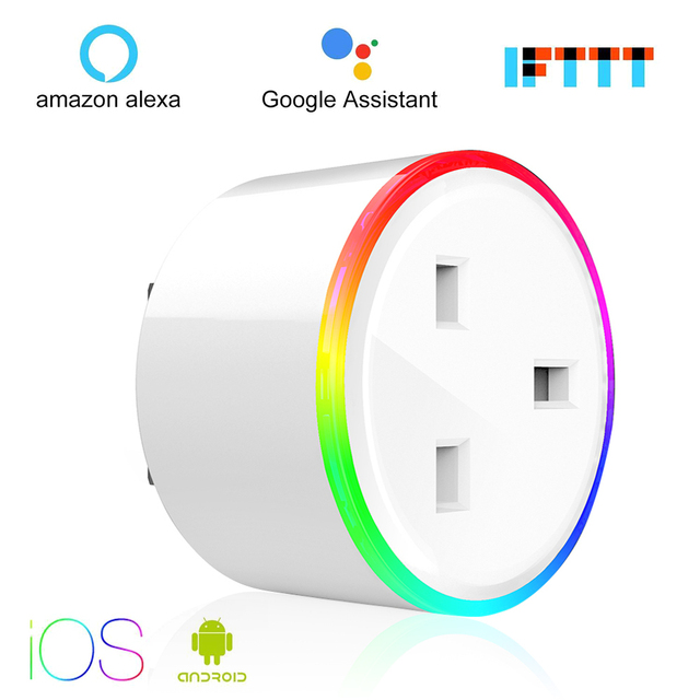 Inteligentna wtyczka WiFi sterowania gniazdo 10A energii monitorowania zegar przełącznik ue/US/UK wylot sterowania głosem przez alexa Google domu IFTTT