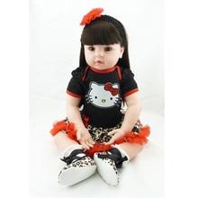 22 Inch Handmade Newborn Girl Doll Vinyl Cute Reborn Babies Doll Looking Real Baby Reborns Kids Birthday Gift Juguetes Brinquedo