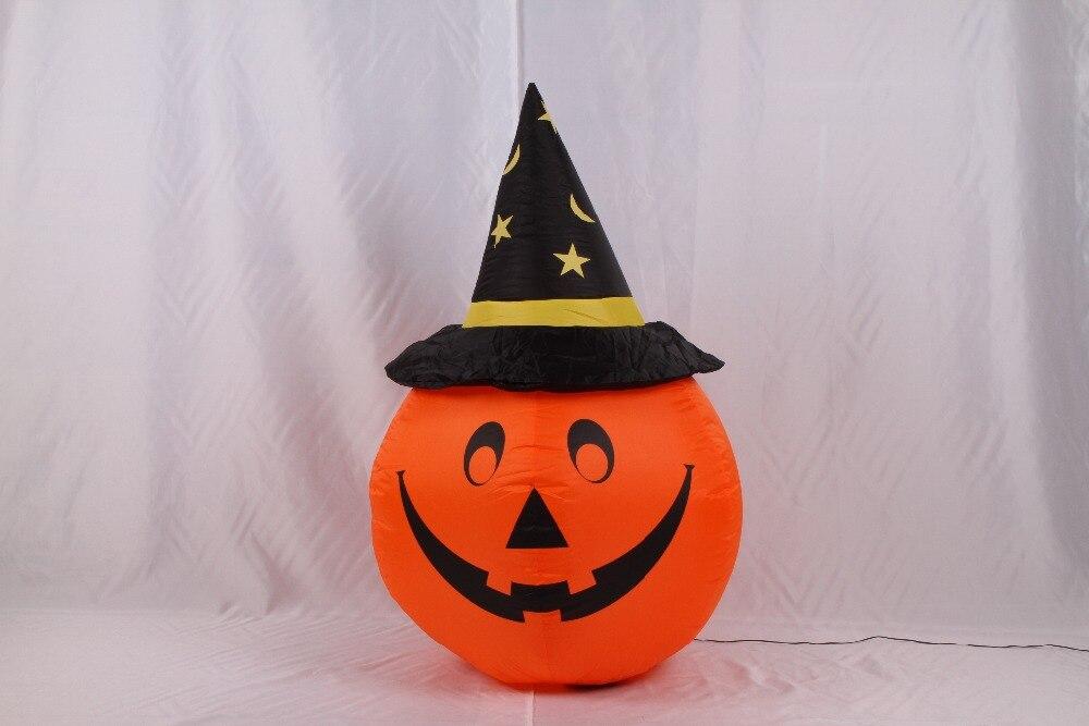 ФОТО 1.2m EU Plug Inflatable Halloween Pumpkin with Black and Sharp Hat Cute for Halloween Festival