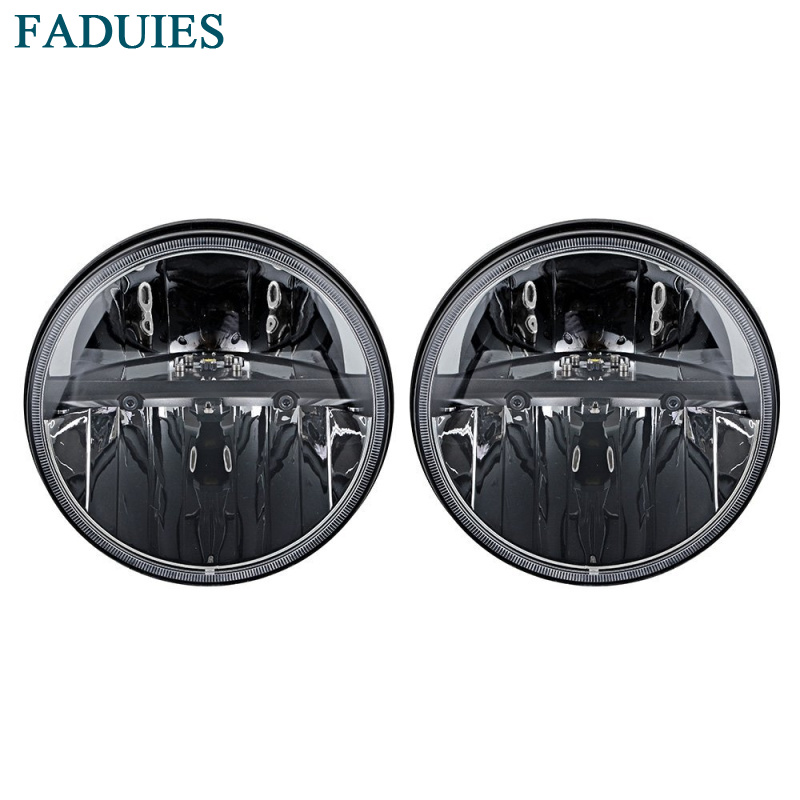 FADUIES 1 Pair 7 Inch Black Round LED Headlights with H4 High Low Beam For Jeep
