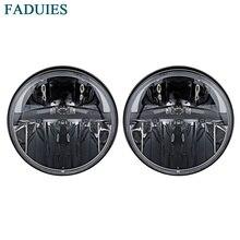 FADUIES 1 пара 7 дюймов черный круглый светодиодный фары с H4 дальнего ближнего света для Jeep Wrangler JK TJ Hummer H1& H2